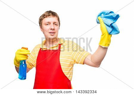 Horizontal Portrait Of A Man With A Rag And The Spray On A White Background