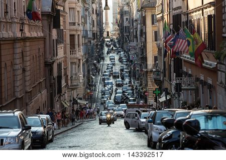 ROME ITALY - JUNE 11 2015: Via delle Quattro Fontane in the late afternoon. Rome Italy