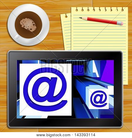 At Symbol Tablet Showing Email Messages 3D Illustration