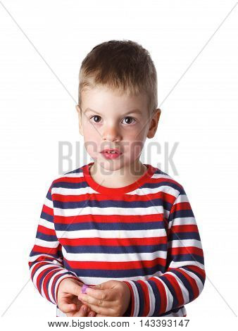 3-4 Years Cheerful Handsome Boy In A Striped T-shirt In The Stud