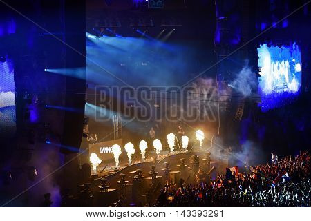 Fire Flame Projection At Live Concert