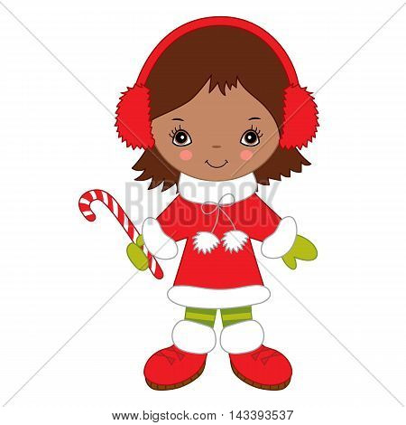 Vector African American Christmas little girl with candy stick