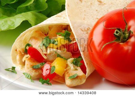 Fresh burrito with chicken