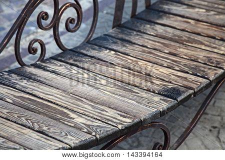 wooden bench. outdoor shot