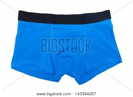 Blue boxer shorts isolated on the white background