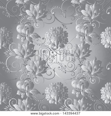 Light elegant stylish floral vector seamless pattern background with vintage beautiful silver volumetric decorative flowers and vintage ornaments. Luxury illustration and royal 3d decor elements with shadow and highlights. Endless elegant  texture.
