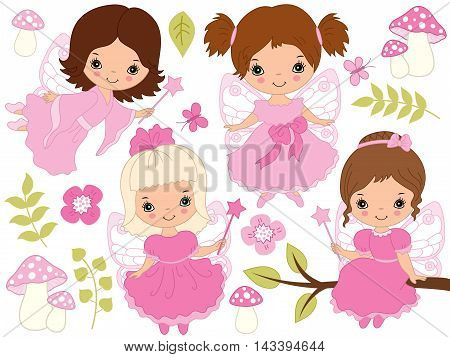 Vector cute little fairies with magic wand in pink dresses