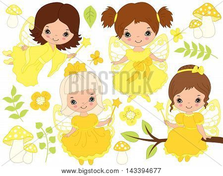 Vector little cute fairies with magic wand in yellow dresses