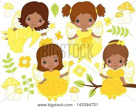 Vector African American cute little fairies with magic wand in yellow dresses