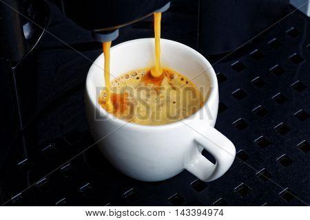 Closeup white cup with espresso preparation in coffee machine