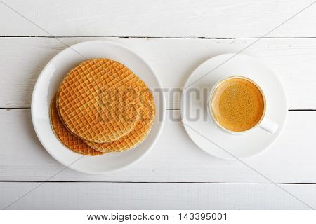 Cup Of Espresso And Waffles