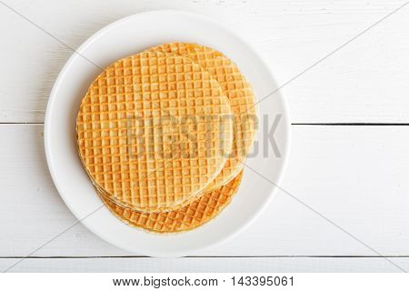 Round Wafers In A White Plate