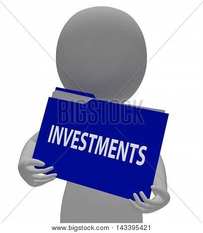 Investments Folder Represents Portfolio File 3D Rendering