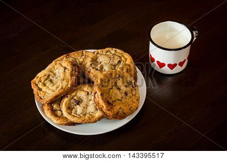 Swiss Chocolate Chips Cookies Arranged On A Table