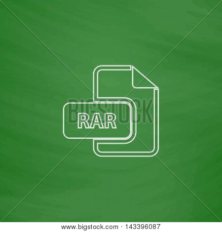 RAR Outline vector icon. Imitation draw with white chalk on green chalkboard. Flat Pictogram and School board background. Illustration symbol