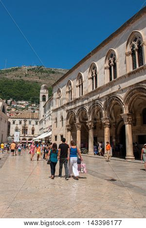DUBROVNIK, CROATIA - AUG 3, 2016: Unidentified tourists in the Old town of Dubrovnik, Croatia. Dubrovnik is a UNESCO World Heritage site