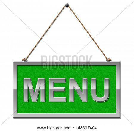 Menu Sign Indicates Restaurant Ordering 3D Illustration