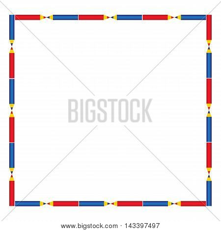Back to school banner concept. Idea for welcome poster with element of border. Frame from blue and red pens. Place for text. Background for announcement. Greeting card, invitation. Vector illustration
