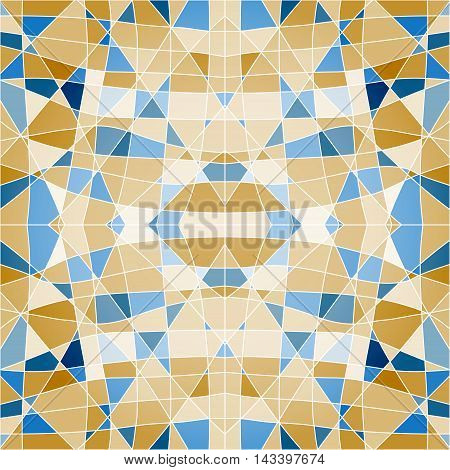 Seamless Pattern Mosaic With Blue Pieces