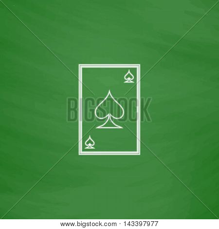Spades card Outline vector icon. Imitation draw with white chalk on green chalkboard. Flat Pictogram and School board background. Illustration symbol