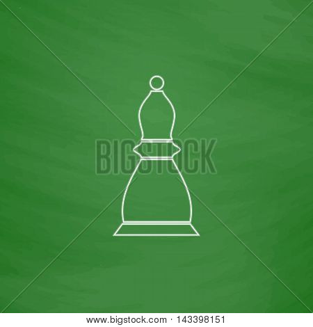 Chess bishop Outline vector icon. Imitation draw with white chalk on green chalkboard. Flat Pictogram and School board background. Illustration symbol