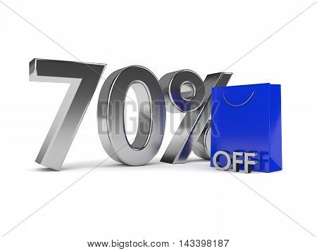 3D Rendering Of Shopping Bag And Discount Over White