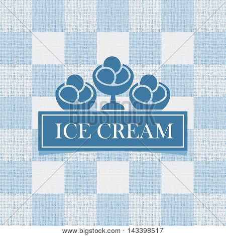 sign with ice cream against the background of the tablecloth in the box