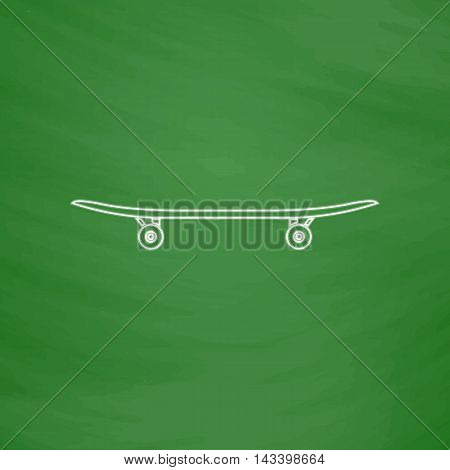 Skateboard Outline vector icon. Imitation draw with white chalk on green chalkboard. Flat Pictogram and School board background. Illustration symbol