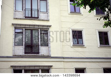 facade of building with windows of socilalism times in berlin