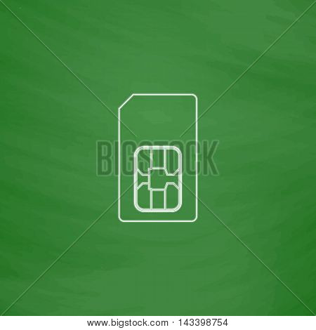 Sim card Outline vector icon. Imitation draw with white chalk on green chalkboard. Flat Pictogram and School board background. Illustration symbol