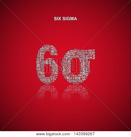 Six sigma typography background. Red background with main title 6 sigma filled by other words related with six sigma method. Vector illustration