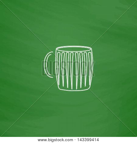 beer mug Outline vector icon. Imitation draw with white chalk on green chalkboard. Flat Pictogram and School board background. Illustration symbol