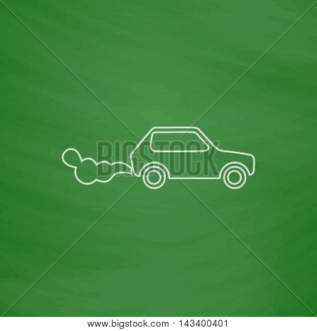 contamination Outline vector icon. Imitation draw with white chalk on green chalkboard. Flat Pictogram and School board background. Illustration symbol