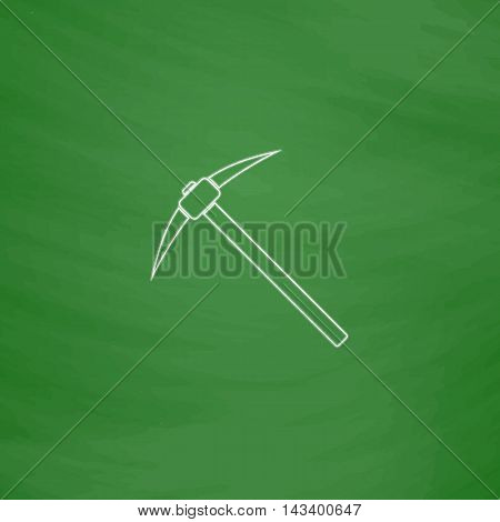 Pickax Outline vector icon. Imitation draw with white chalk on green chalkboard. Flat Pictogram and School board background. Illustration symbol