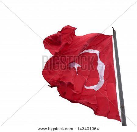 Waving In Wind Flag Of Turkey On Flagpole