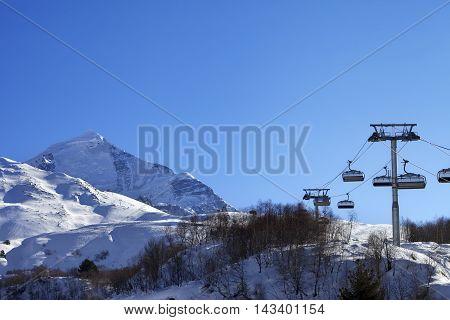 Ski Resort At Sun Winter Morning