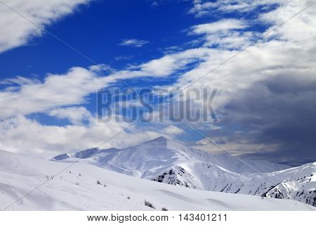 Ski Slope And Beautiful Sky With Clouds In Evening