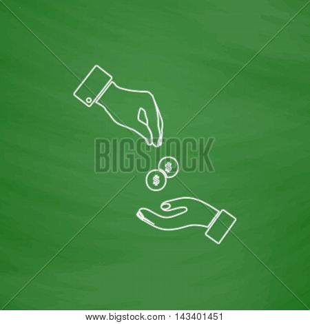 alms Outline vector icon. Imitation draw with white chalk on green chalkboard. Flat Pictogram and School board background. Illustration symbol