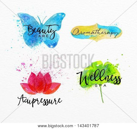 Symbols beauty natural SPA drawing with watercolor symbol butterfly lotus leaf label