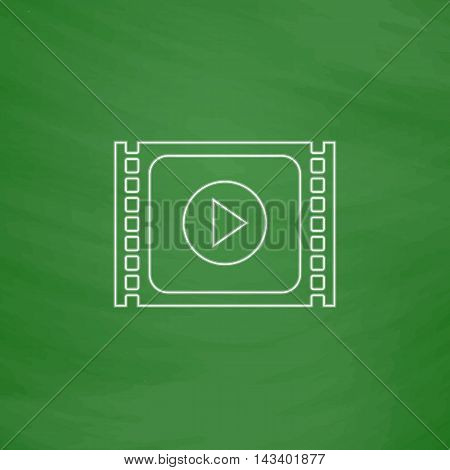 player Outline vector icon. Imitation draw with white chalk on green chalkboard. Flat Pictogram and School board background. Illustration symbol