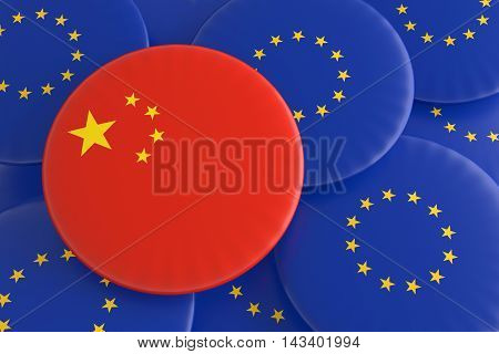 Partnership China EU: Chinese Flag And European Union Flag Badges 3d illustration