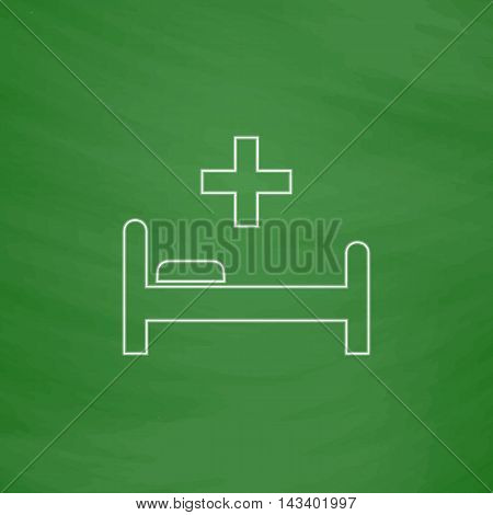 Hospital bed Outline vector icon. Imitation draw with white chalk on green chalkboard. Flat Pictogram and School board background. Illustration symbol