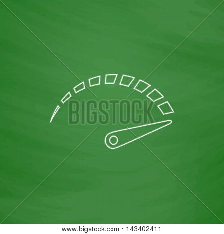 indicator Outline vector icon. Imitation draw with white chalk on green chalkboard. Flat Pictogram and School board background. Illustration symbol
