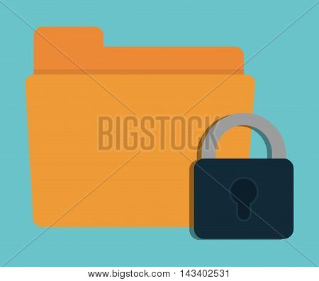 padlock file cyber security system technology icon. Colorful and flat design. Vector illustration