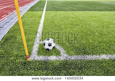 Conner, soccer ball on the football field green