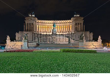 Altar of the Fatherland in Rome at night