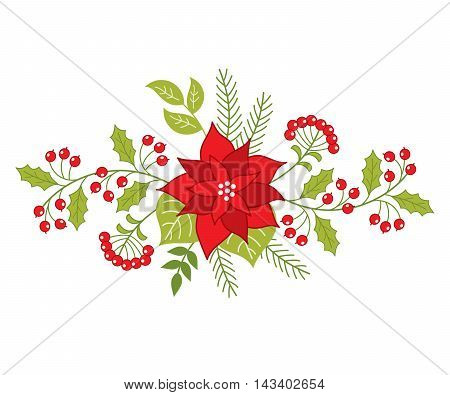 Vector Christmas bouquet with poinsettia berries and holly leaves