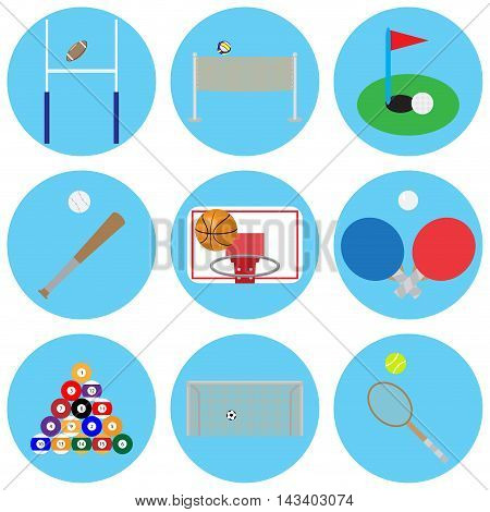Sport game with ball. Basketball and snooker tennis and volleyball sports ball and football icon vector illustration