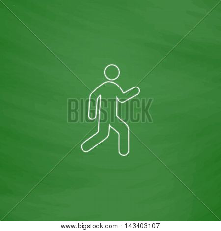 walk Outline vector icon. Imitation draw with white chalk on green chalkboard. Flat Pictogram and School board background. Illustration symbol