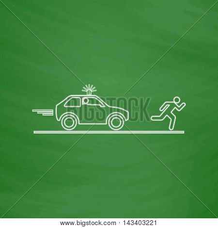 police Outline vector icon. Imitation draw with white chalk on green chalkboard. Flat Pictogram and School board background. Illustration symbol